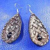 Украшения handmade. Livemaster - original item Leather earrings with agate stone. Handmade.