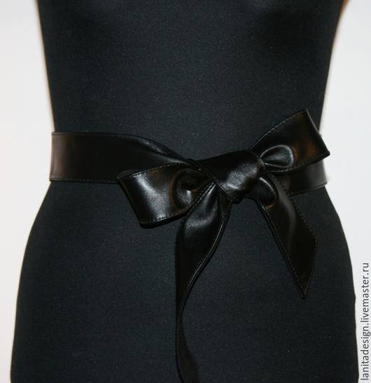 Пояса, ремни ручной работы. Двусторонний кожаный пояс Twin Black 4.5`. Lanita Design. Ярмарка Мастеров.