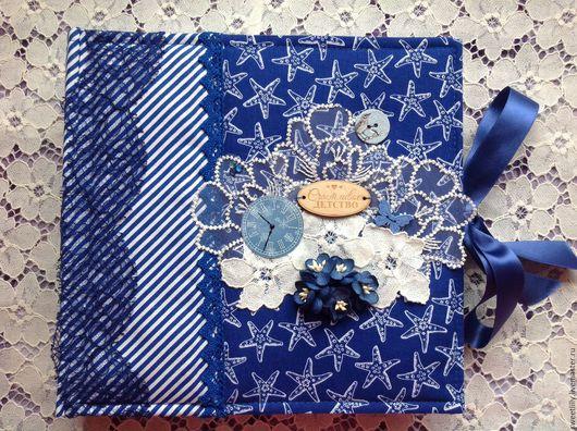 """Подарки для новорожденных, ручной работы. Ярмарка Мастеров - ручная работа. Купить Фотоальбом для мальчика """"Счастливое детство"""". Handmade. Комбинированный, цветы"""