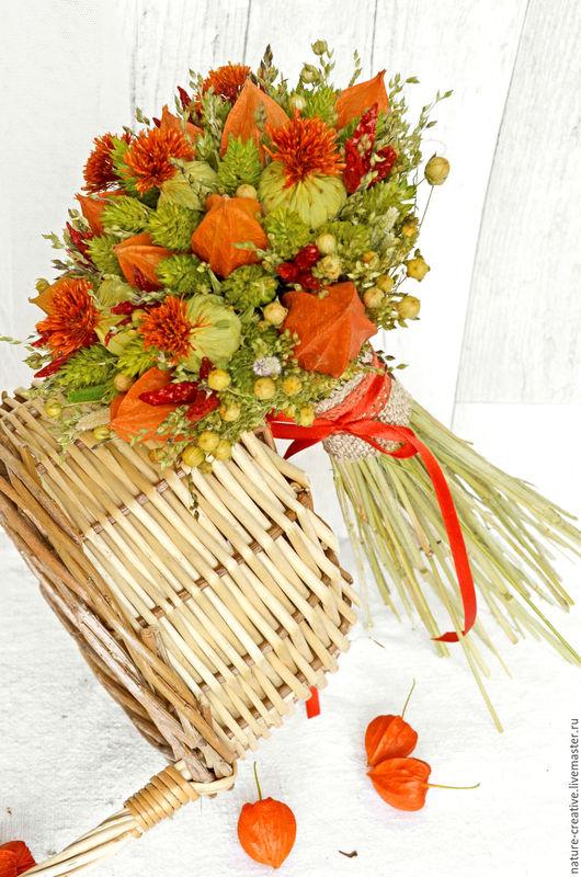 Букеты ручной работы. Ярмарка Мастеров - ручная работа. Купить «Осенняя палитра» букет из сухоцветов. Handmade. В эко стиле