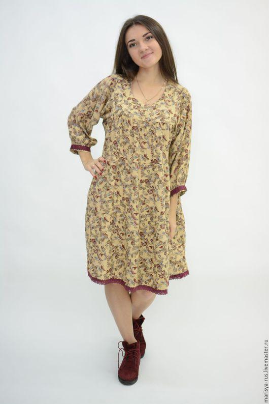 """Платья ручной работы. Ярмарка Мастеров - ручная работа. Купить Платье """"Лада"""" укороченное. Handmade. Бежевый, платье в русском стиле"""
