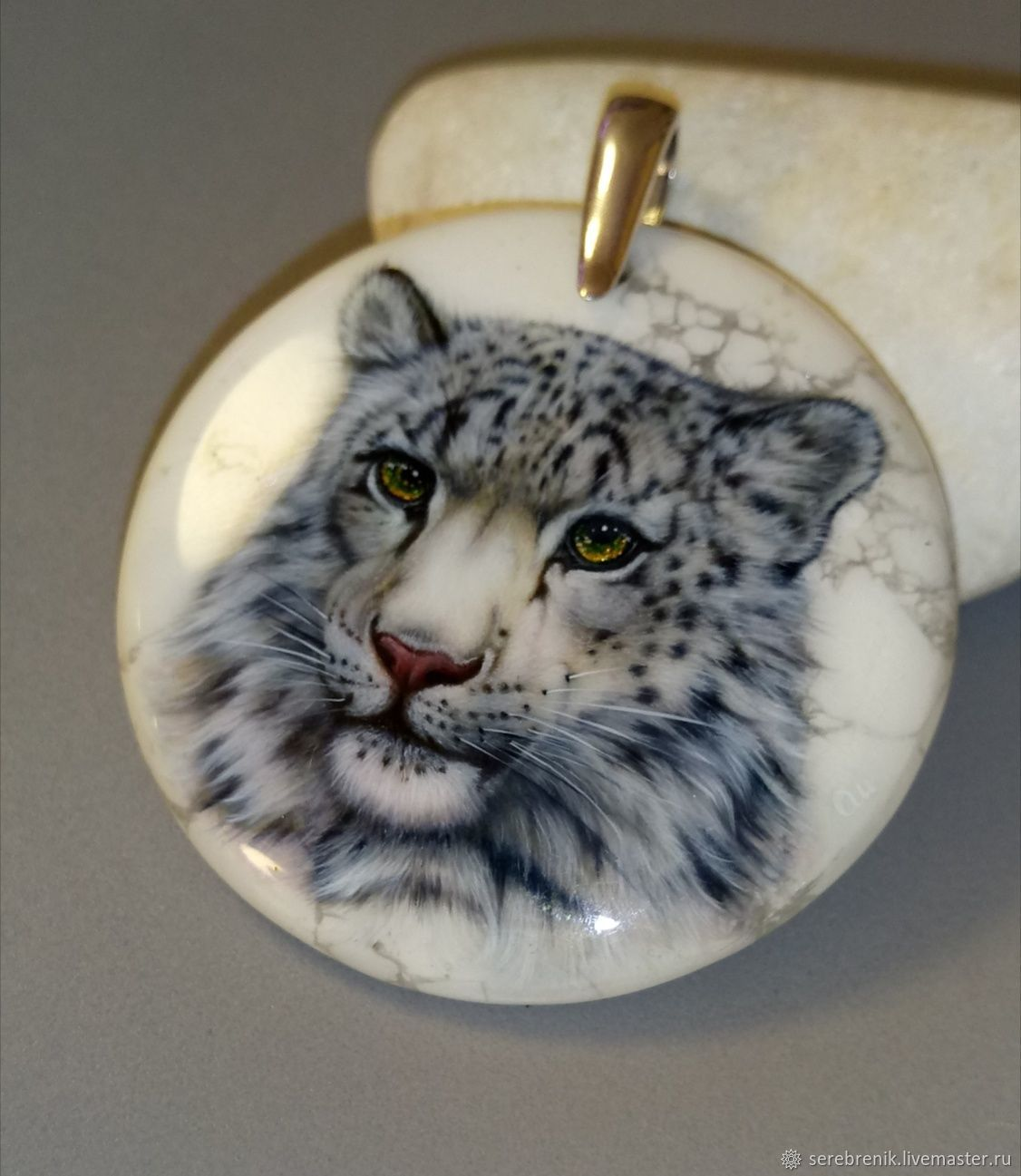 IRBIS-snow leopard - white leopard pendant with lacquer painting, Pendants, Moscow,  Фото №1