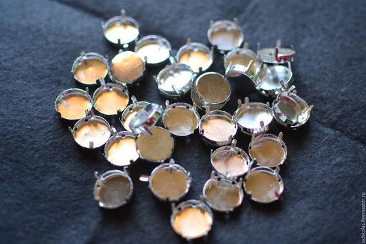 Для украшений ручной работы. Ярмарка Мастеров - ручная работа. Купить Оправа для риволи 16 мм серебристая. Handmade. Серебряный
