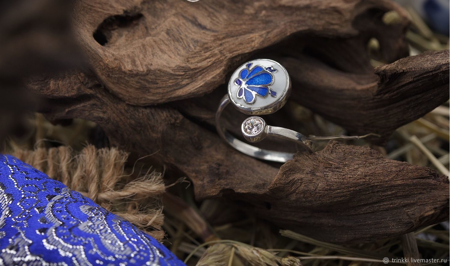 New! Dimensionless ring with a native Russian patterns Gzhel. - 925 silver, white and blue enamel, cubic Zirconia