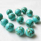 Материалы для творчества handmade. Livemaster - original item Turquoise 12 mm imitation, green beads. Handmade.