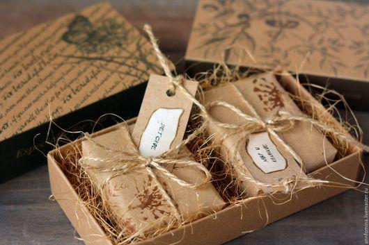 Подарочные наборы косметики ручной работы. Ярмарка Мастеров - ручная работа. Купить Подарочная коробка на два кусочка мыла.. Handmade.