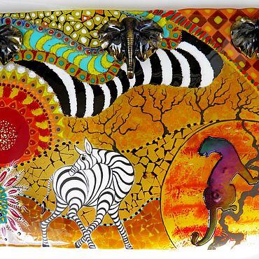 Картины и панно ручной работы. Ярмарка Мастеров - ручная работа Настенное панно Ботсвана стекло фьюзинг. Handmade.