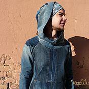 Sweater Jackets handmade. Livemaster - original item Jackets: Denim blue hoodie with big hood Upcycling. Handmade.