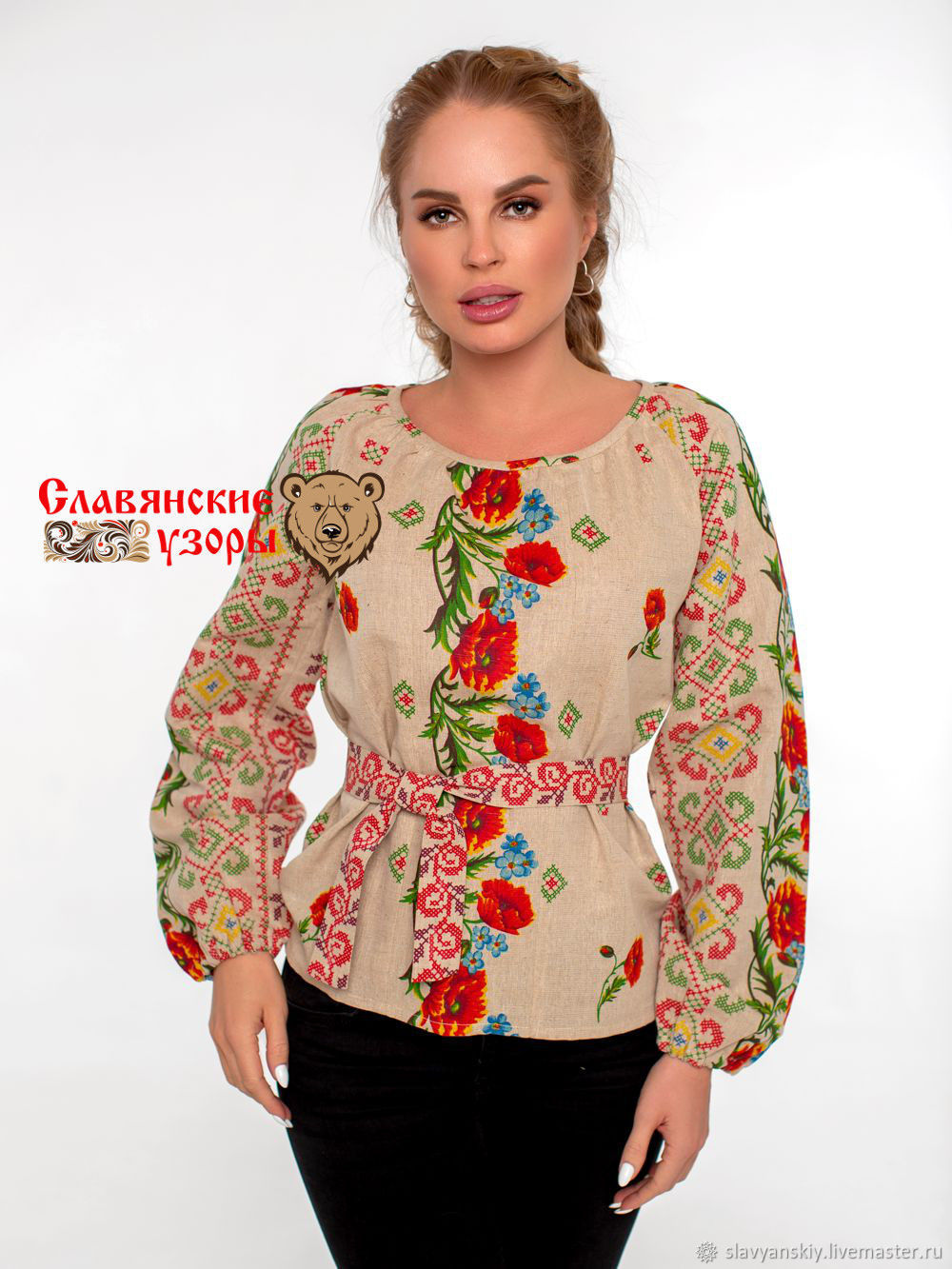 Cotton blouse in folk style ' Poppy', Blouses, St. Petersburg,  Фото №1