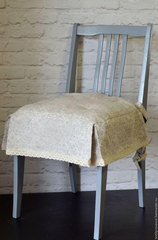 Текстиль, ковры ручной работы. Ярмарка Мастеров - ручная работа. Купить Льняная подушка на стул с кружевом. Handmade. Серый, подушечка