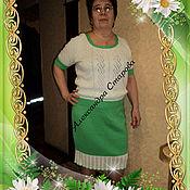 Одежда ручной работы. Ярмарка Мастеров - ручная работа Костюм женский вязаный  ВЕСНЫ ЦВЕТЕНИЕ спицами из хлопка. Handmade.