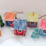 """Подарки к праздникам ручной работы. Ярмарка Мастеров - ручная работа Елочные игрушки """"Деревенька"""". Handmade."""