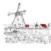 Картины и панно ручной работы. Ярмарка Мастеров - ручная работа Рисунок Мельницы в Заансе сханс. Handmade.