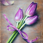Картины и панно handmade. Livemaster - original item A bouquet of tulips. Handmade.
