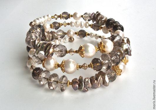 Браслет из натуральных камней жемчуга и серебра с позолотой. Жемчужный браслет из серебра с кристаллами и раухтопазом. Браслет из серебра дымчатого кварца и жемчуга.