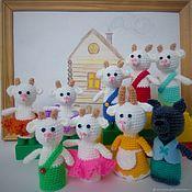 handmade. Livemaster - original item Penlight theater knitted Wolf and the seven little kids. Handmade.