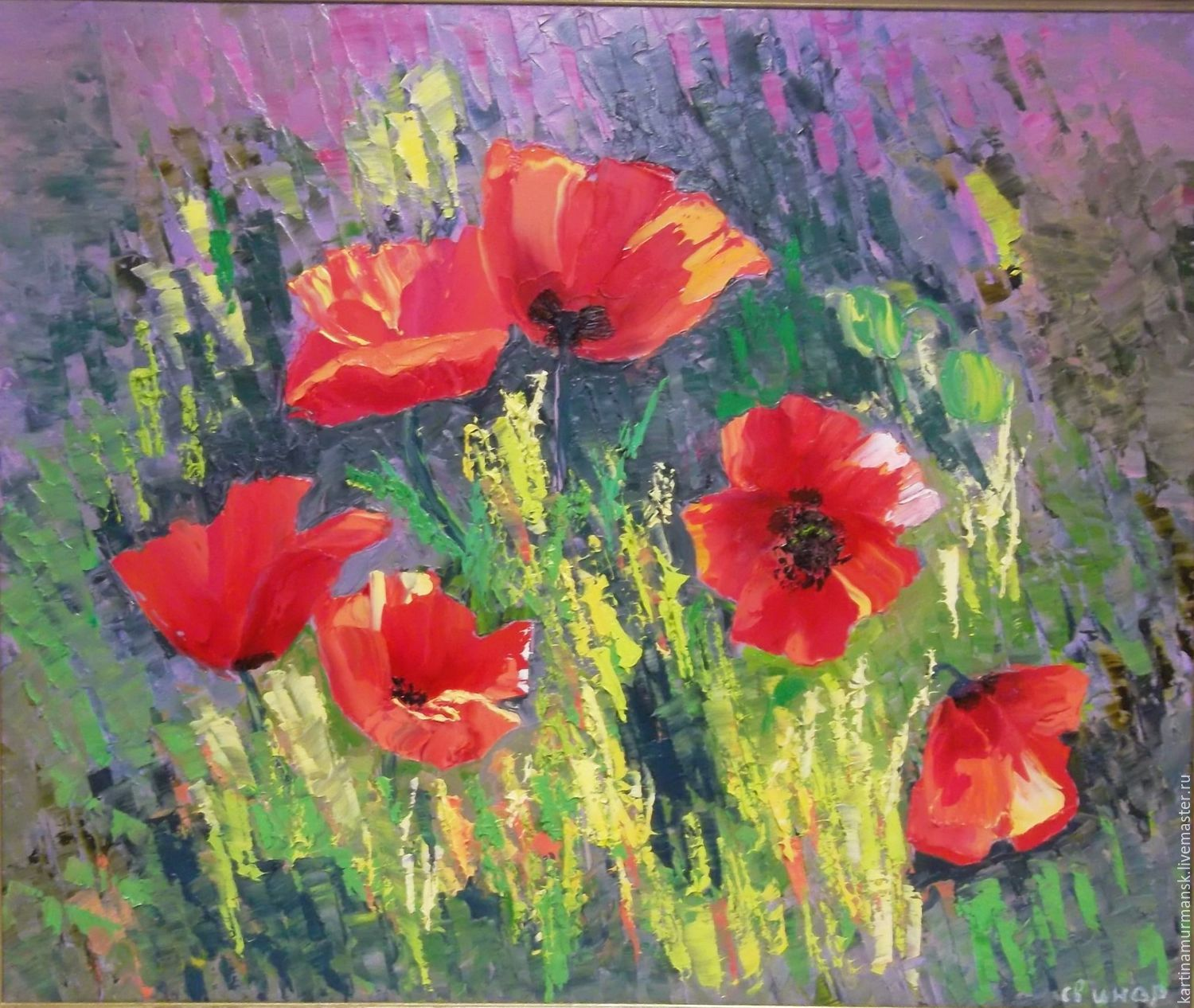 Oil painting flowers 50/60 'Poppies in the grass', Pictures, Murmansk,  Фото №1