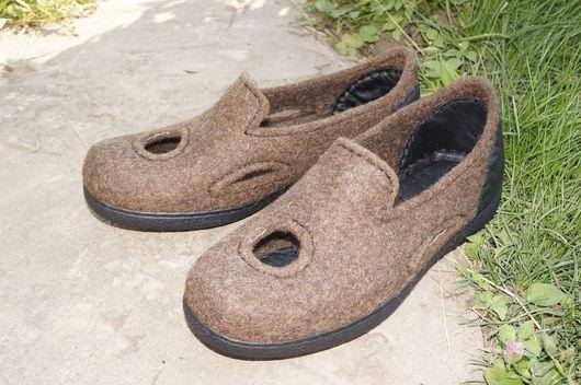 """Обувь ручной работы. Ярмарка Мастеров - ручная работа. Купить Валяные мужские туфли """"Странник"""". Handmade. Коричневый, обувь из шерсти"""