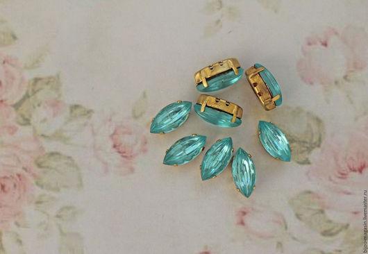 Для украшений ручной работы. Ярмарка Мастеров - ручная работа. Купить Винтажные кристаллы 15х7мм. стразы в оправе цвет аква голубой. Handmade.