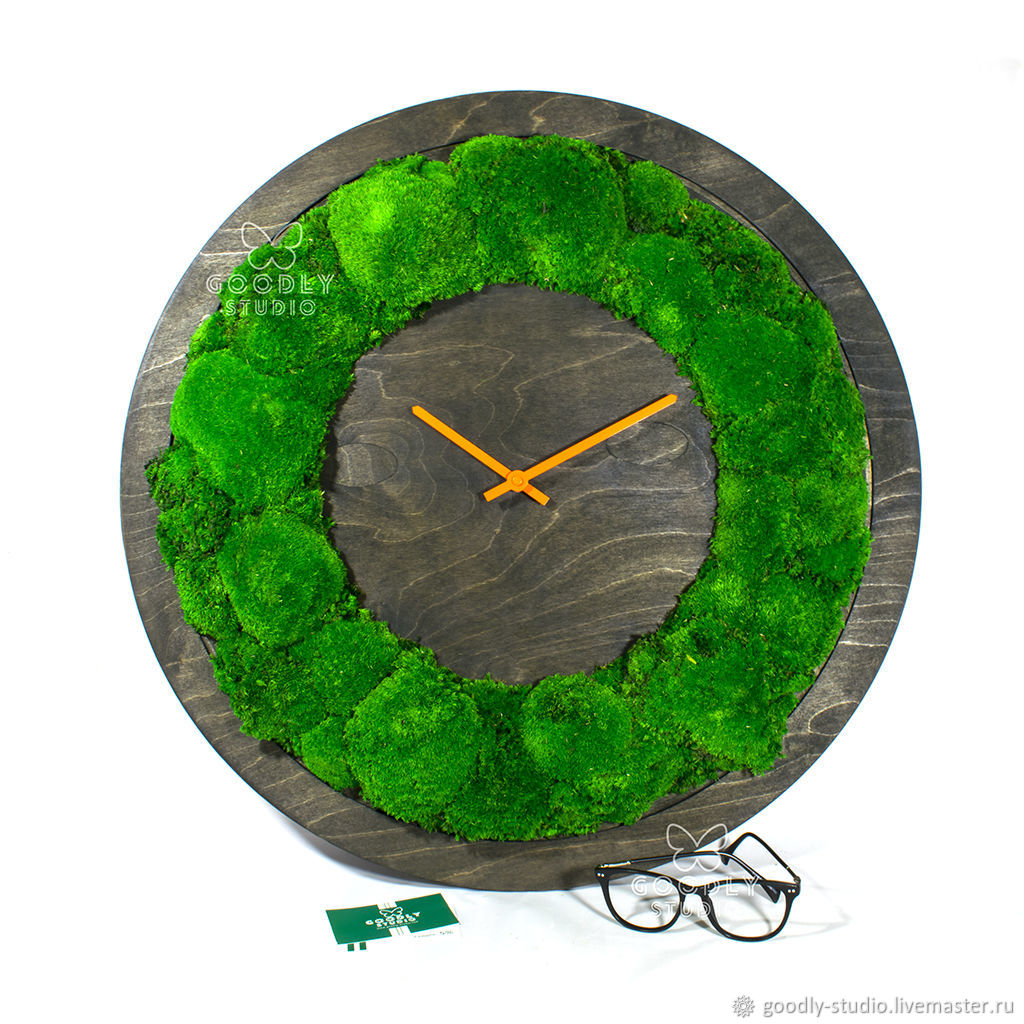 Wall clock made of wood and moss, Watch, Moscow,  Фото №1