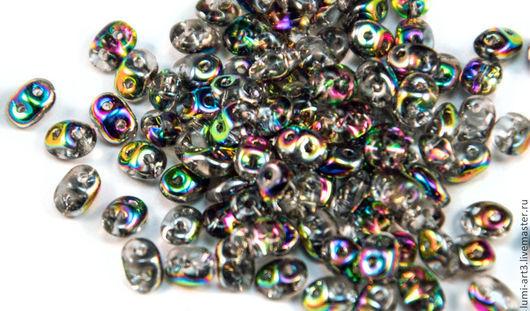 Для украшений ручной работы. Ярмарка Мастеров - ручная работа. Купить SuperDuo 5x2.5 Vitral Crystal V00030 (1466) Чешские бусины Супердуо. Handmade.