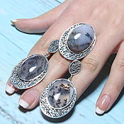 Украшения handmade. Livemaster - original item Dendra jewelry set with moss agate made of silver IV0040. Handmade.