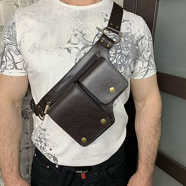 Bags and accessories handmade. Livemaster - original item Men`s leather waist bag. Handmade.