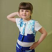 Работы для детей, ручной работы. Ярмарка Мастеров - ручная работа Комплект для девочки шортики, жилет, футболка и леггинсы  Магия моря. Handmade.