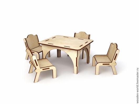 Куклы и игрушки ручной работы. Ярмарка Мастеров - ручная работа. Купить Кухонный стол со стульями для больших кукол. Handmade.