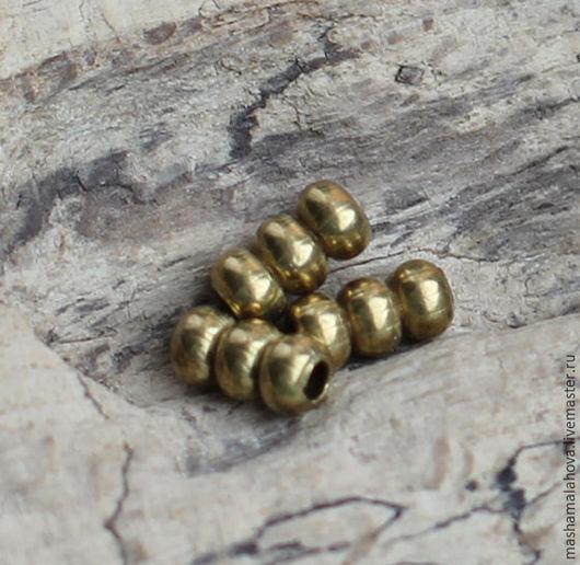 Для украшений ручной работы. Ярмарка Мастеров - ручная работа. Купить Бусина 4х4х7мм (10шт). Handmade. Золотой, бусина из латуни