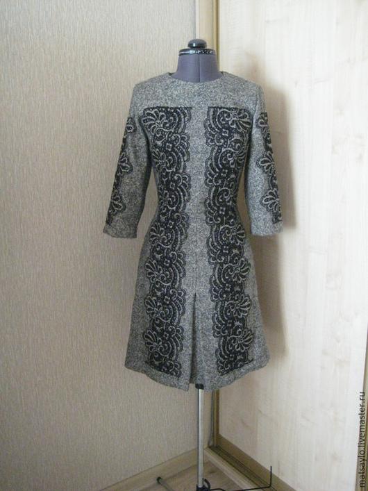 Платья ручной работы. Ярмарка Мастеров - ручная работа. Купить Шерстяное платье с кружевом. Handmade. Темно-серый, серое платье