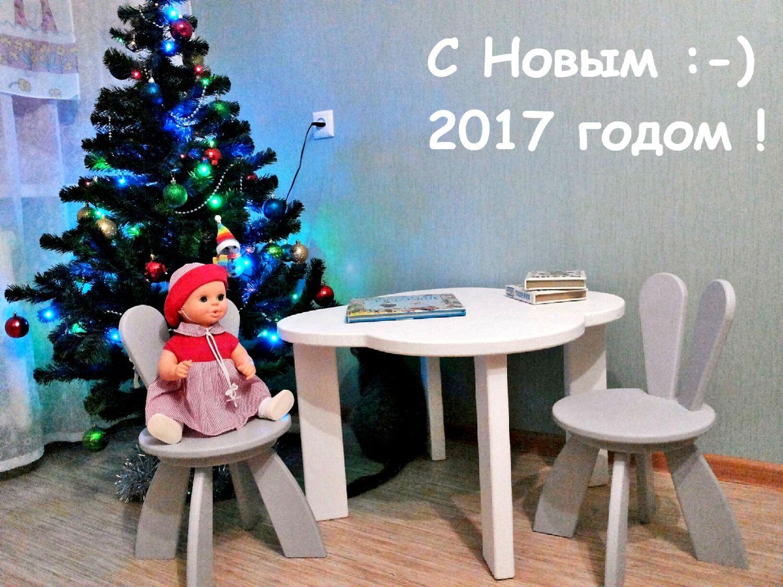 Детский Столик Белый и Стульчики Серые. Мебель Детская на заказ, Стулья, Москва,  Фото №1
