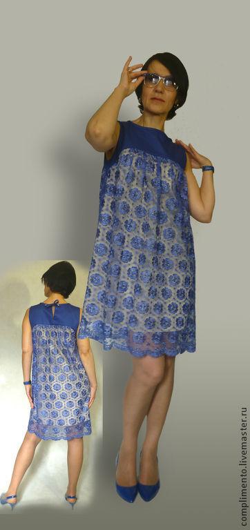 Платья ручной работы. Ярмарка Мастеров - ручная работа. Купить Коктейльное кружевное платье  А-силуэта ПАТИ. Handmade. Синий
