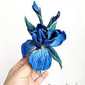 Украшения handmade. Livemaster - original item Brooch made of iris blue leather. Handmade.