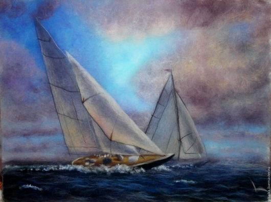 Пейзаж ручной работы. Ярмарка Мастеров - ручная работа. Купить Морская свежесть. Handmade. Тёмно-синий, фиолетовый, морской пейзаж
