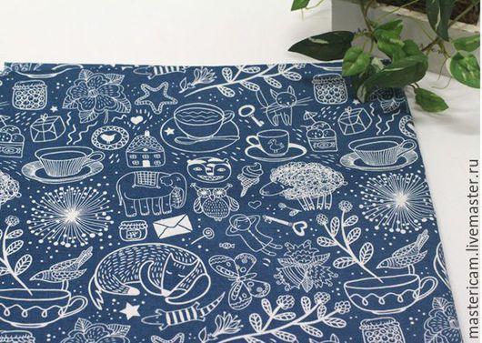 Ткань корейский хлопок 100% оксфорд с рисунком на синем, коричневом и кофейном фоне