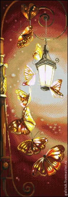 Схема вышивки бабочки у фонаря