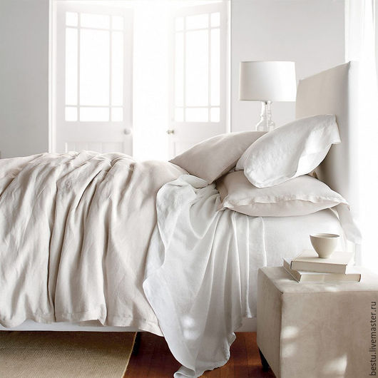 Текстиль, ковры ручной работы. Ярмарка Мастеров - ручная работа. Купить Постельное белье изо льна. Handmade. Белый