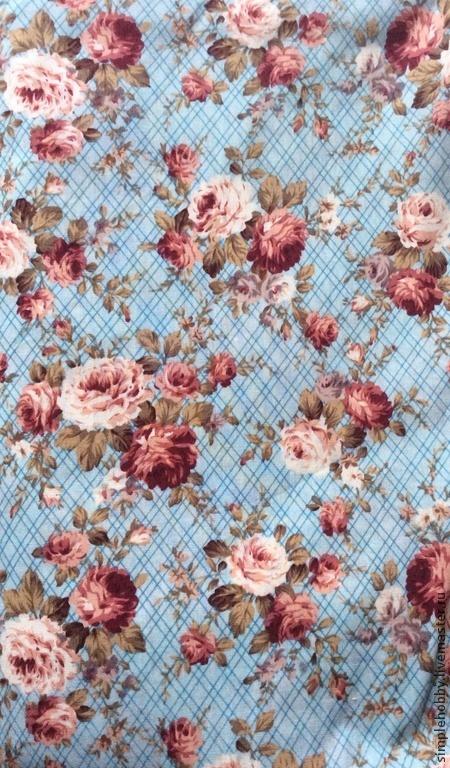 """Шитье ручной работы. Ярмарка Мастеров - ручная работа. Купить Ткань хлопок """"Розы и клетка"""". Handmade. Хлопок, ткань для рукоделия"""