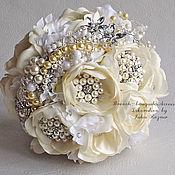 Свадебный салон handmade. Livemaster - original item Wedding brooch bouquet. White brooch bouquet.. Handmade.