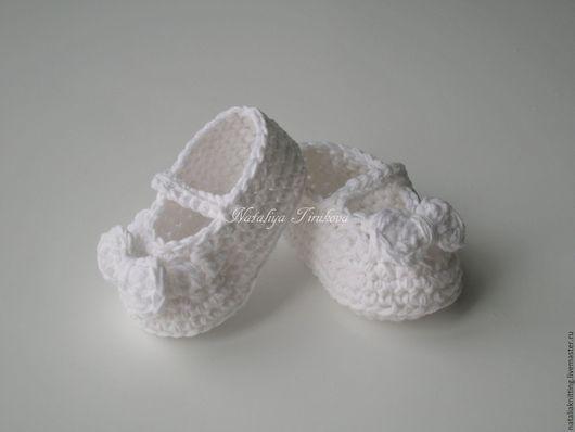 """Для новорожденных, ручной работы. Ярмарка Мастеров - ручная работа. Купить Пинетки-туфельки """"Бантики"""". Handmade. Белый, пинетки для крещения"""