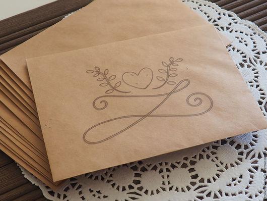 Открытки и скрапбукинг ручной работы. Ярмарка Мастеров - ручная работа. Купить Крафт конверт с печатью 11,4x16,2 см (С6). Handmade.