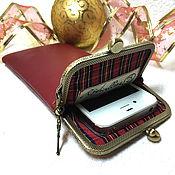 Сумки и аксессуары handmade. Livemaster - original item Phone case leather red on the clasp. Handmade.