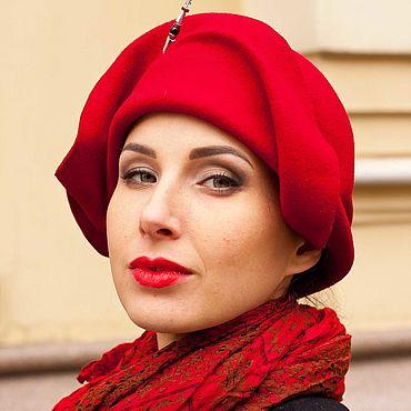 Аксессуары ручной работы. Ярмарка Мастеров - ручная работа Шляпы: Шляпа красная фетровая «Киноварь». Handmade.
