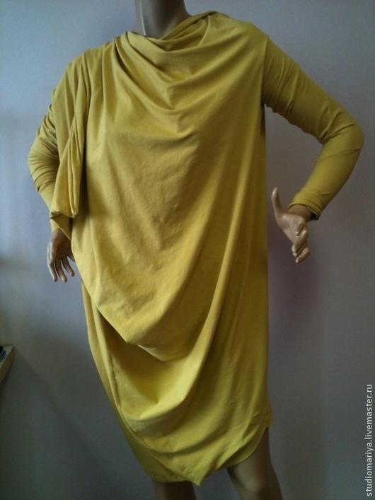 Платья ручной работы. Ярмарка Мастеров - ручная работа. Купить Ассиметричное горчичное платье- трансформер. Handmade. Желтый, платье трикотажное
