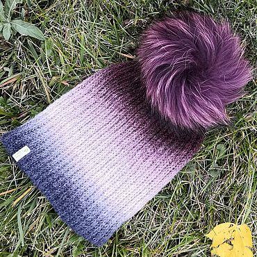 Accessories handmade. Livemaster - original item Hat with pompom Burgundy (English knit). Handmade.