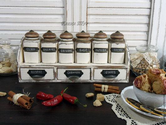 """Кухня ручной работы. Ярмарка Мастеров - ручная работа. Купить """"Provence""""набор для специй. Handmade. Баночки, кухня Прованс, сосна"""
