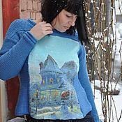 Одежда handmade. Livemaster - original item Merino sweater with felted insert