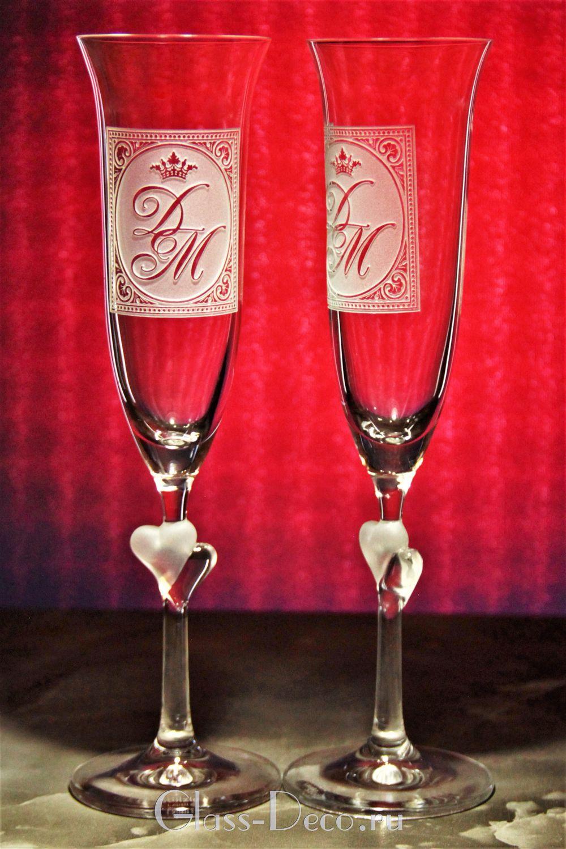 Свадебные бокалы с выпуклой гравировкой 3D, Бокалы, Москва,  Фото №1