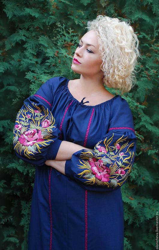 """Платья ручной работы. Ярмарка Мастеров - ручная работа. Купить Темно-синее платье с вышивкой ручной работы """"Цветочный вечер"""". Handmade."""